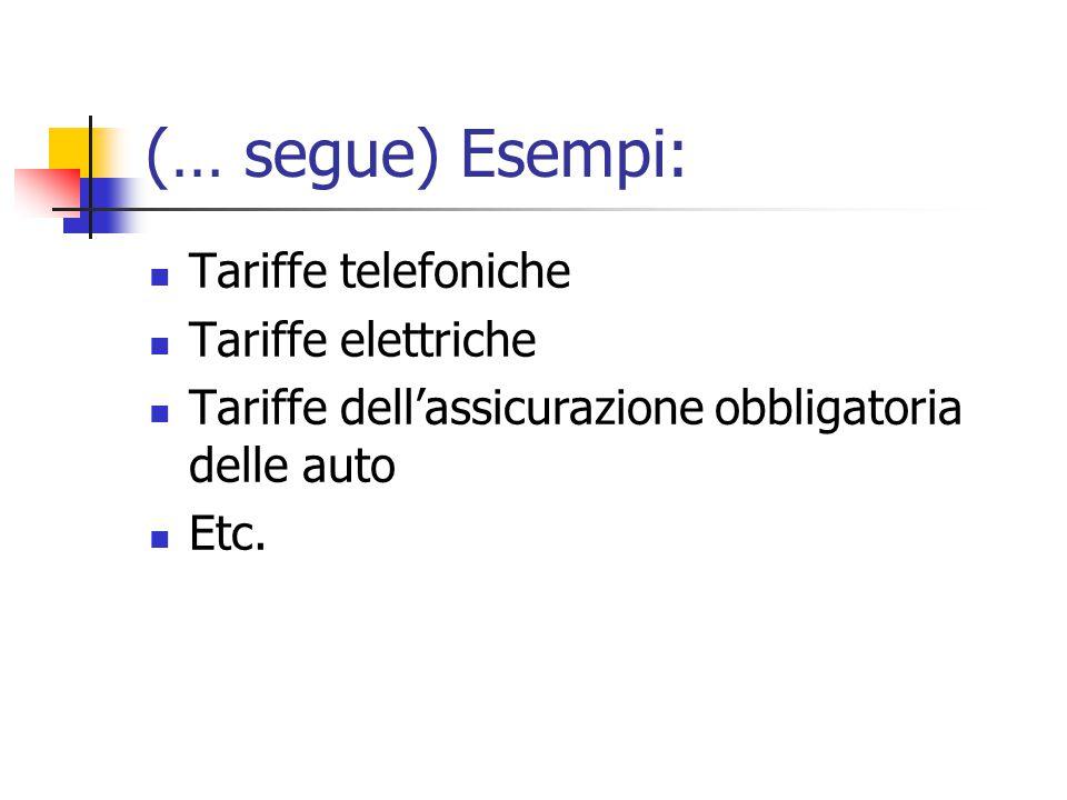 (… segue) Esempi: Tariffe telefoniche Tariffe elettriche Tariffe dell'assicurazione obbligatoria delle auto Etc.