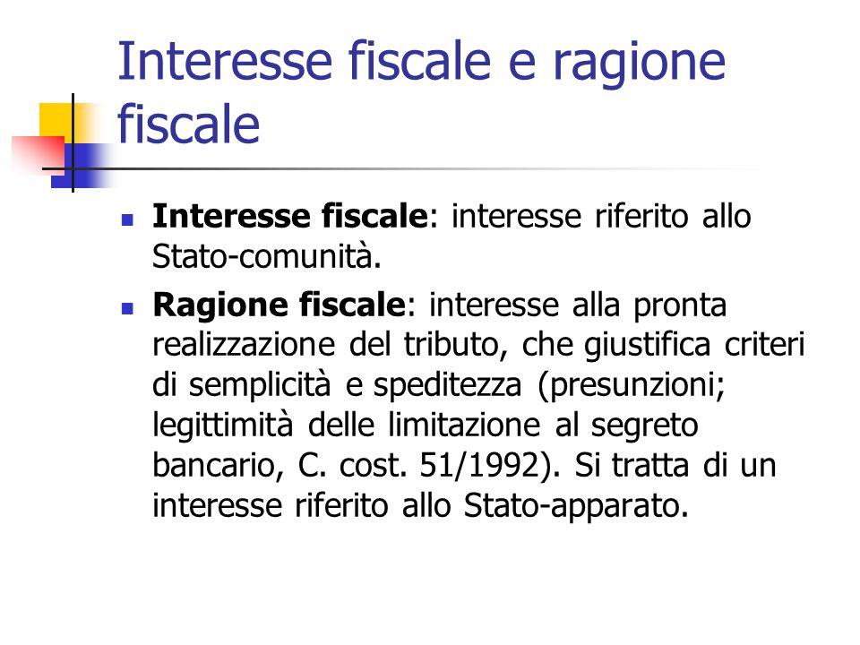 Interesse fiscale e ragione fiscale Interesse fiscale: interesse riferito allo Stato-comunità. Ragione fiscale: interesse alla pronta realizzazione de