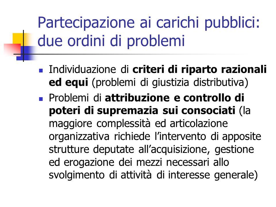 Partecipazione ai carichi pubblici: due ordini di problemi Individuazione di criteri di riparto razionali ed equi (problemi di giustizia distributiva)