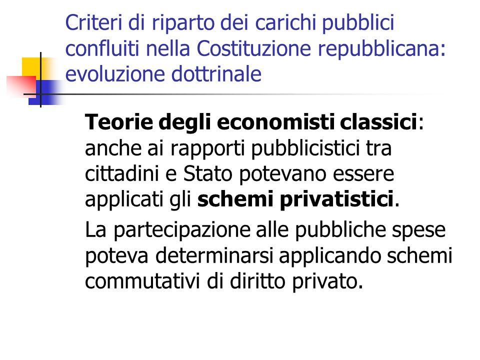 Criteri di riparto dei carichi pubblici confluiti nella Costituzione repubblicana: evoluzione dottrinale Teorie degli economisti classici: anche ai ra