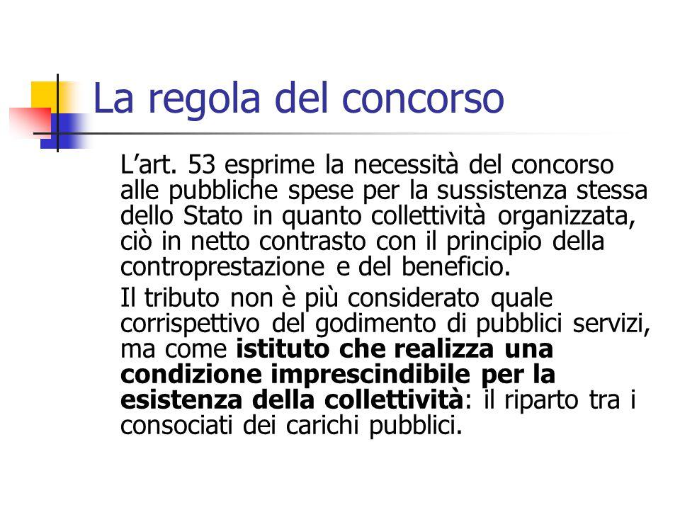 La regola del concorso L'art. 53 esprime la necessità del concorso alle pubbliche spese per la sussistenza stessa dello Stato in quanto collettività o