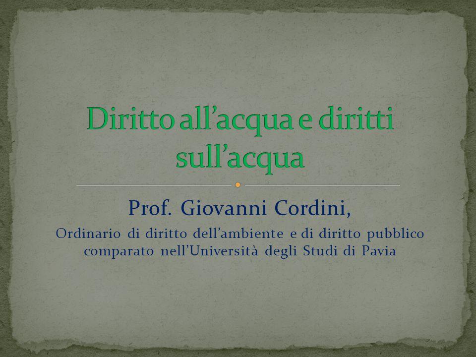 Prof. Giovanni Cordini, Ordinario di diritto dell'ambiente e di diritto pubblico comparato nell'Università degli Studi di Pavia