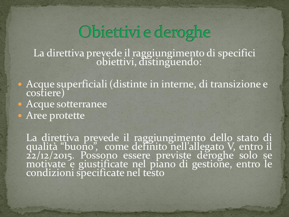 La direttiva prevede il raggiungimento di specifici obiettivi, distinguendo: Acque superficiali (distinte in interne, di transizione e costiere) Acque