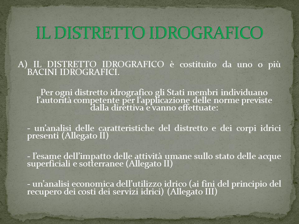 A) IL DISTRETTO IDROGRAFICO è costituito da uno o più BACINI IDROGRAFICI. Per ogni distretto idrografico gli Stati membri individuano l'autorità compe