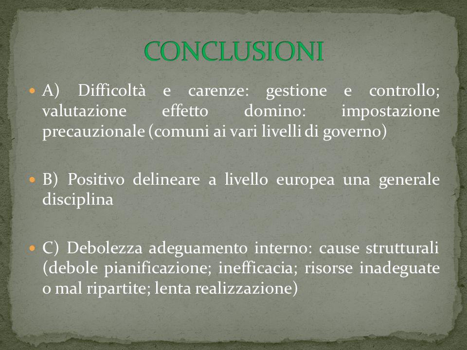 A) Difficoltà e carenze: gestione e controllo; valutazione effetto domino: impostazione precauzionale (comuni ai vari livelli di governo) B) Positivo