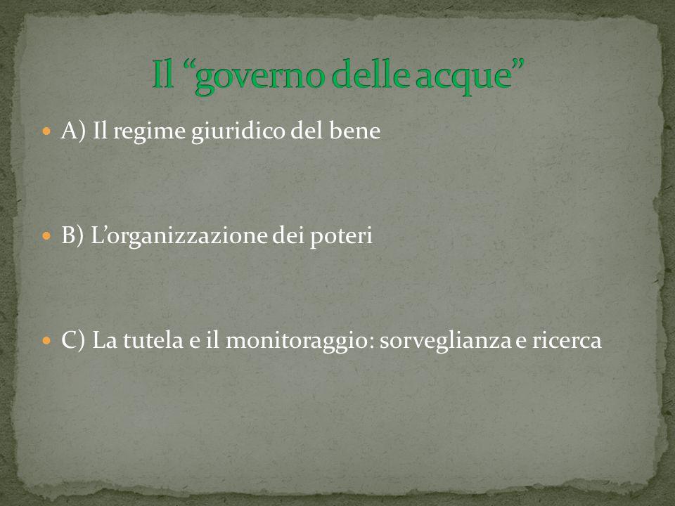 A) Il regime giuridico del bene B) L'organizzazione dei poteri C) La tutela e il monitoraggio: sorveglianza e ricerca