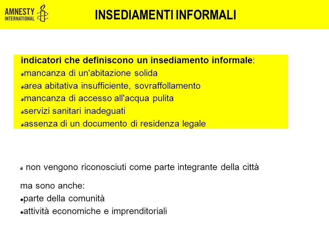 INSEDIAMENTI INFORMALI indicatori che definiscono un insediamento informale: mancanza di un'abitazione solida area abitativa insufficiente, sovraffoll