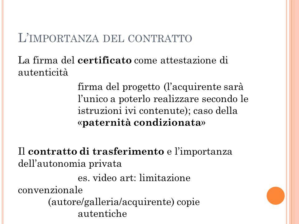 L' IMPORTANZA DEL CONTRATTO La firma del certificato come attestazione di autenticità firma del progetto (l'acquirente sarà l'unico a poterlo realizza