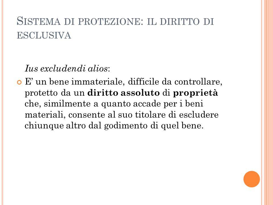 S ISTEMA DI PROTEZIONE : IL DIRITTO DI ESCLUSIVA Ius excludendi alios : E' un bene immateriale, difficile da controllare, protetto da un diritto assol