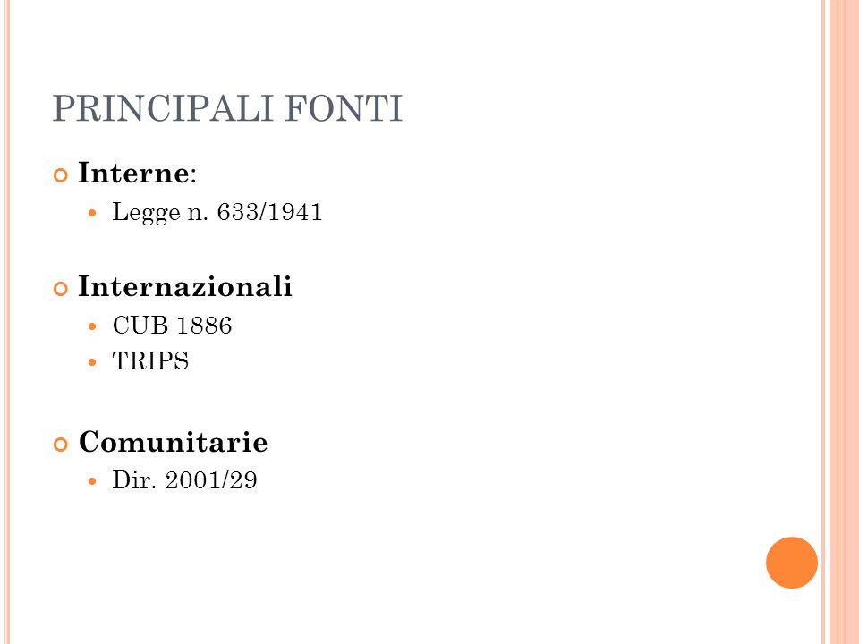 PRINCIPALI FONTI Interne : Legge n. 633/1941 Internazionali CUB 1886 TRIPS Comunitarie Dir. 2001/29