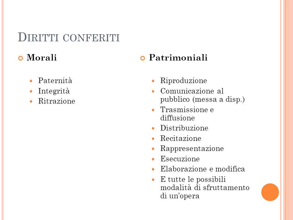 D IRITTI CONFERITI Morali Paternità Integrità Ritrazione Patrimoniali Riproduzione Comunicazione al pubblico (messa a disp.) Trasmissione e diffusione