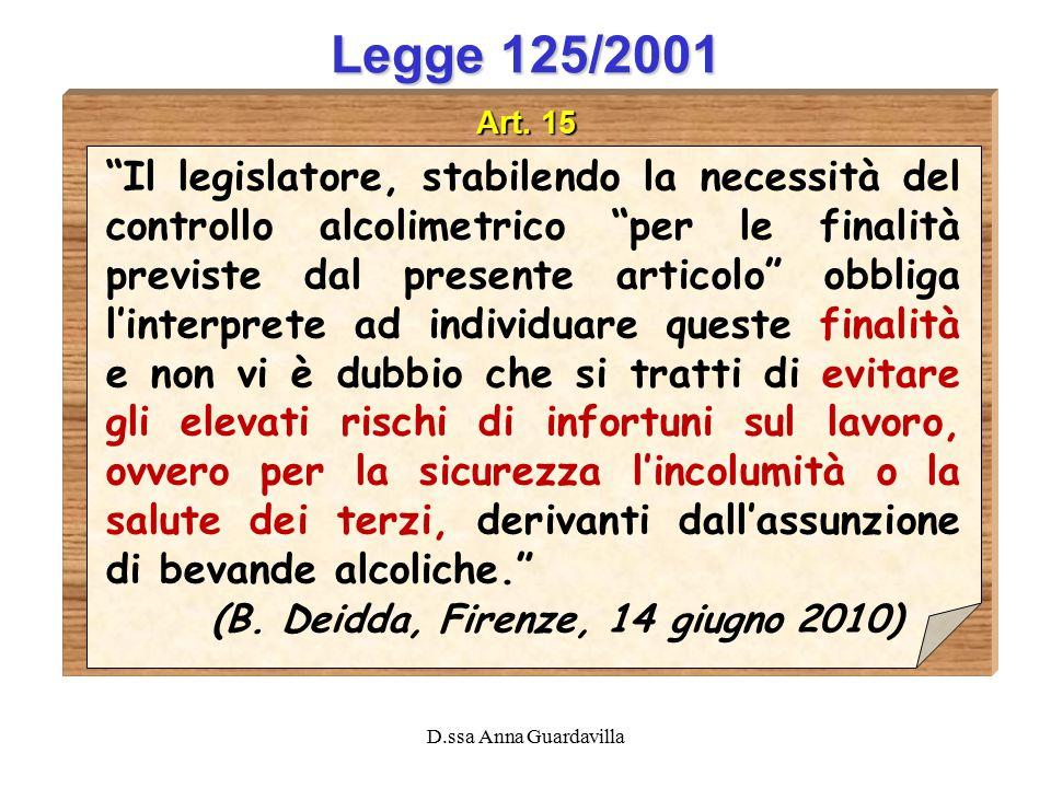 """D.ssa Anna Guardavilla Legge 125/2001 Art. 15 """"Il legislatore, stabilendo la necessità del controllo alcolimetrico """"per le finalità previste dal prese"""