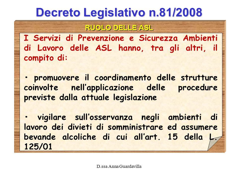D.ssa Anna Guardavilla Decreto Legislativo n.81/2008 RUOLO DELLE ASL I Servizi di Prevenzione e Sicurezza Ambienti di Lavoro delle ASL hanno, tra gli