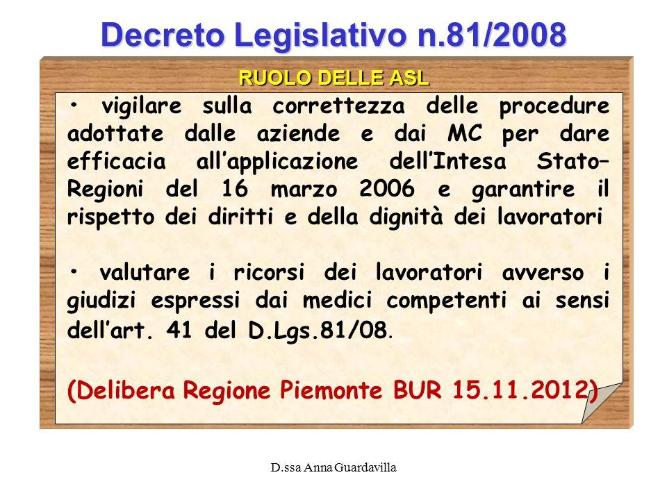 D.ssa Anna Guardavilla Decreto Legislativo n.81/2008 RUOLO DELLE ASL vigilare sulla correttezza delle procedure adottate dalle aziende e dai MC per da