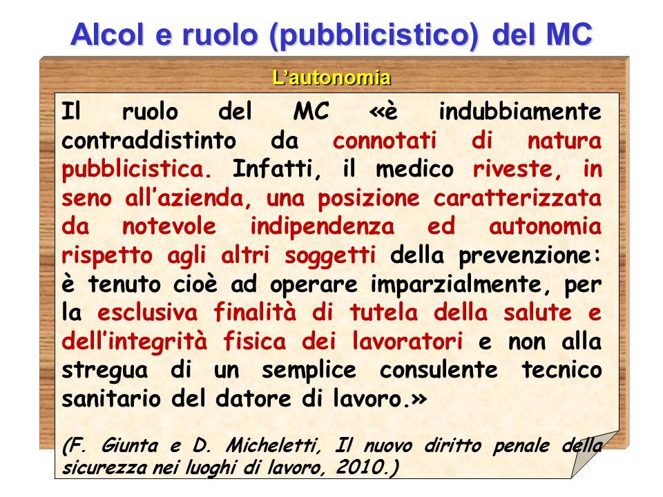 D.ssa Anna Guardavilla Alcol e ruolo (pubblicistico) del MC L'autonomia Il ruolo del MC «è indubbiamente contraddistinto da connotati di natura pubbli