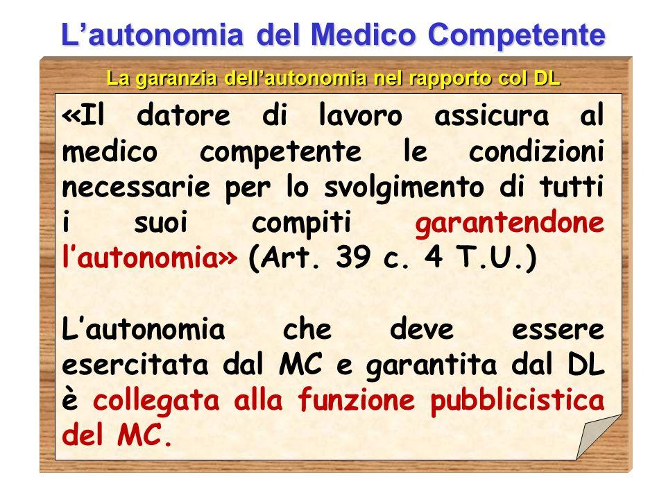 D.ssa Anna Guardavilla L'autonomia del Medico Competente La garanzia dell'autonomia nel rapporto col DL «Il datore di lavoro assicura al medico compet