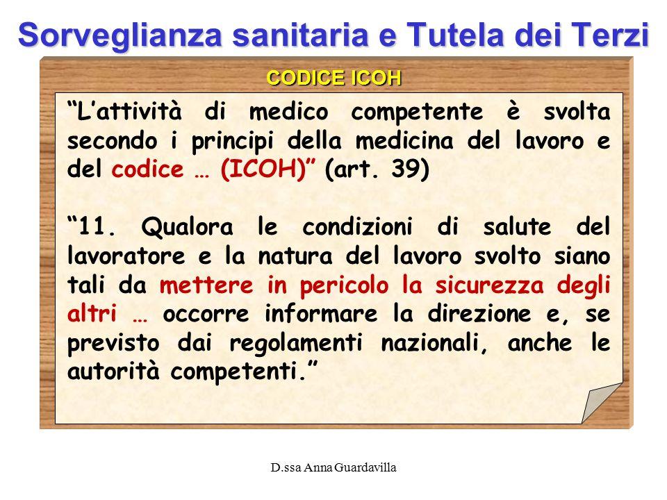 """D.ssa Anna Guardavilla Sorveglianza sanitaria e Tutela dei Terzi CODICE ICOH """"L'attività di medico competente è svolta secondo i principi della medici"""