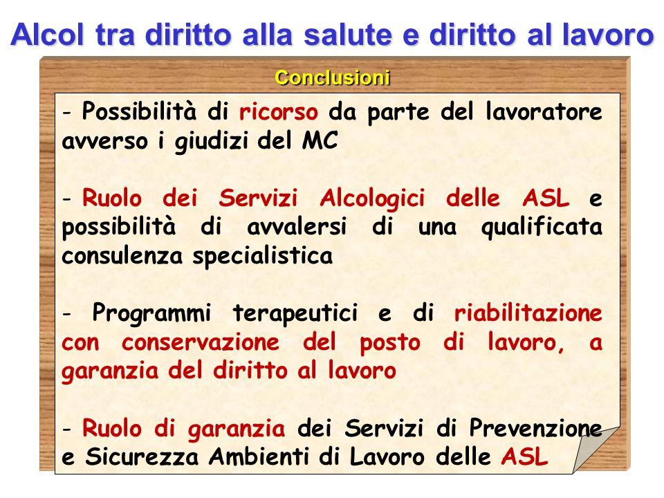 D.ssa Anna Guardavilla Alcol tra diritto alla salute e diritto al lavoro Conclusioni - Possibilità di ricorso da parte del lavoratore avverso i giudiz