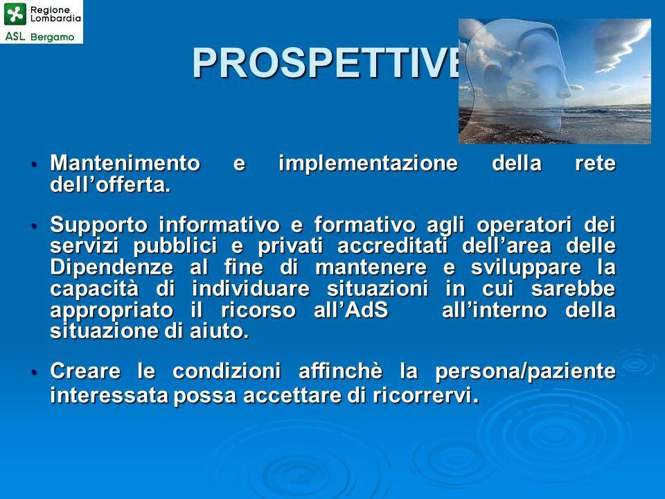 PROSPETTIVE Mantenimento e implementazione della rete dell'offerta.