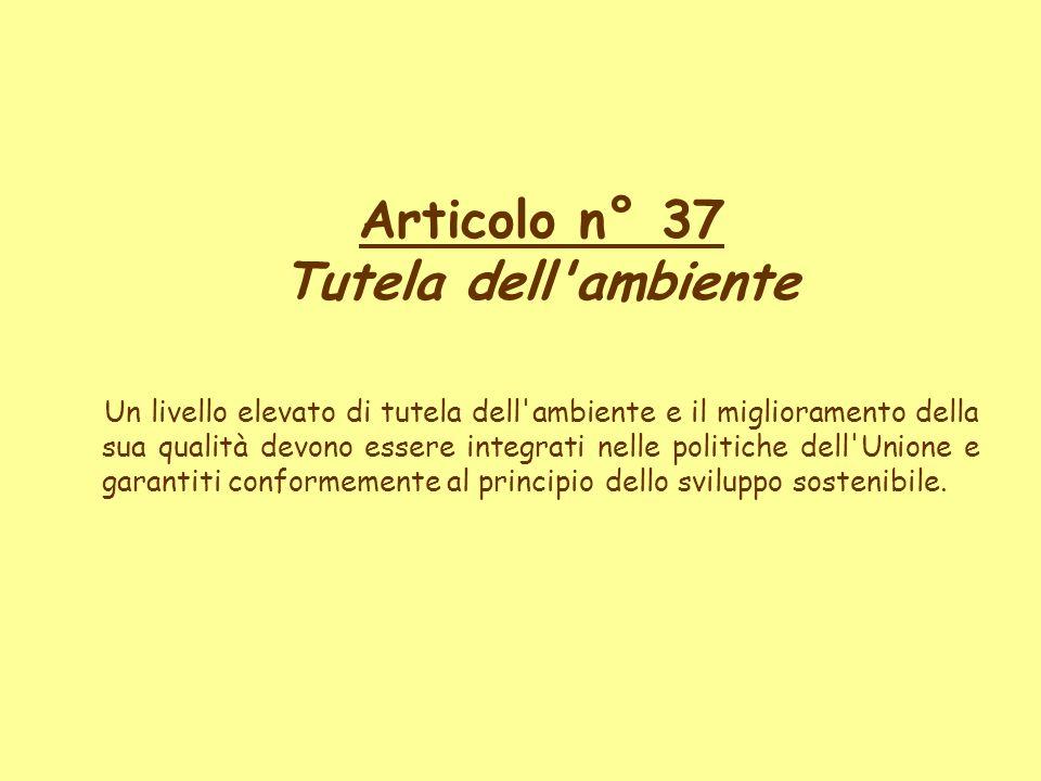 Articolo n° 37 Tutela dell'ambiente Un livello elevato di tutela dell'ambiente e il miglioramento della sua qualità devono essere integrati nelle poli