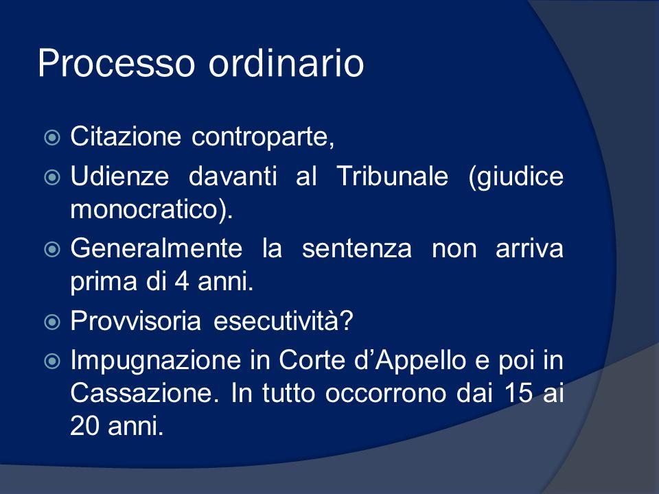 Processo ordinario  Citazione controparte,  Udienze davanti al Tribunale (giudice monocratico).