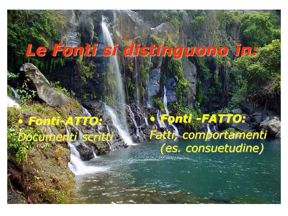 Le Fonti si distinguono in: Fonti-ATTO:Fonti-ATTO: Documenti scritti Fonti -FATTO:Fonti -FATTO: Fatti, comportamenti (es. consuetudine)