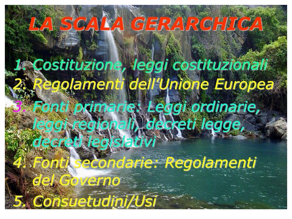 LA SCALA GERARCHICA 1.Costituzione, leggi costituzionali 2. Regolamenti dell'Unione Europea 3. Fonti primarie: Leggi ordinarie, leggi regionali, decre