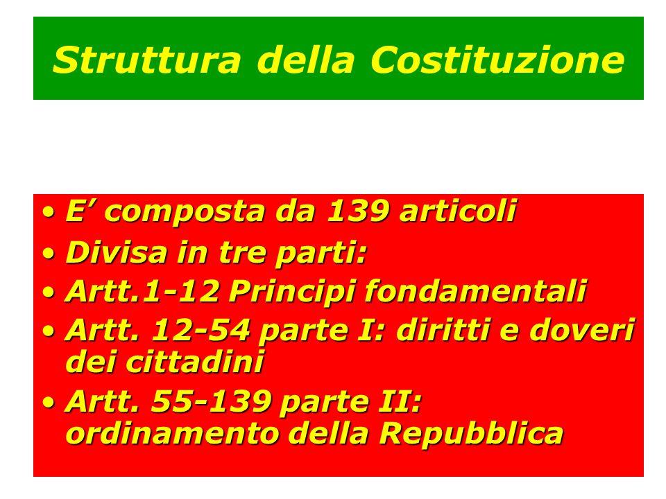 Struttura della Costituzione E' composta da 139 articoliE' composta da 139 articoli Divisa in tre parti:Divisa in tre parti: Artt.1-12 Principi fondam
