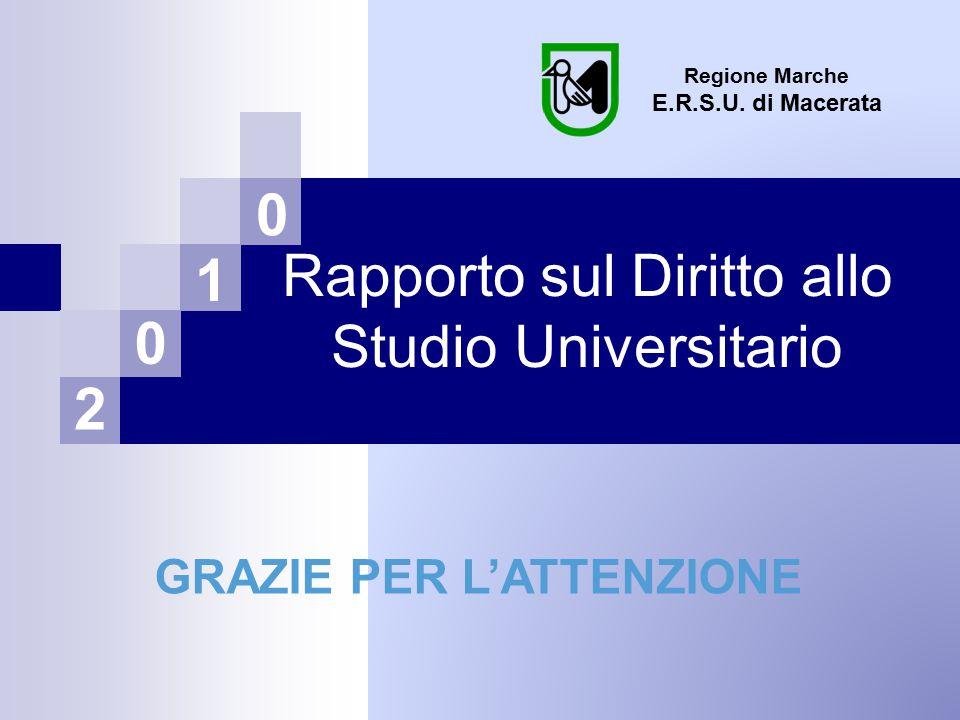 Rapporto sul Diritto allo Studio Universitario Regione Marche E.R.S.U.