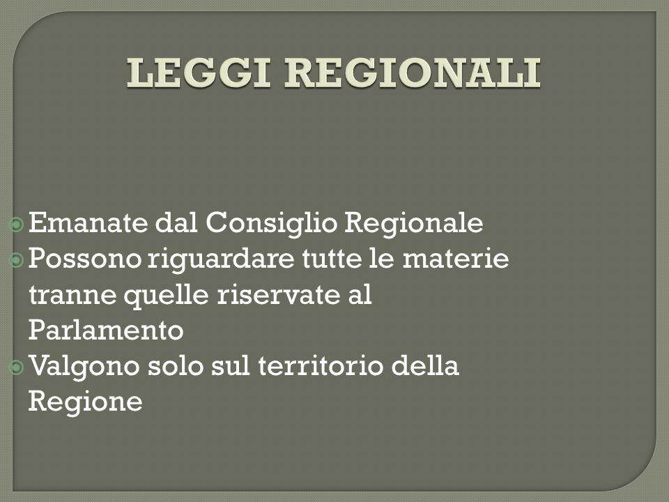 LEGGI REGIONALI  Emanate dal Consiglio Regionale  Possono riguardare tutte le materie tranne quelle riservate al Parlamento  Valgono solo sul territorio della Regione