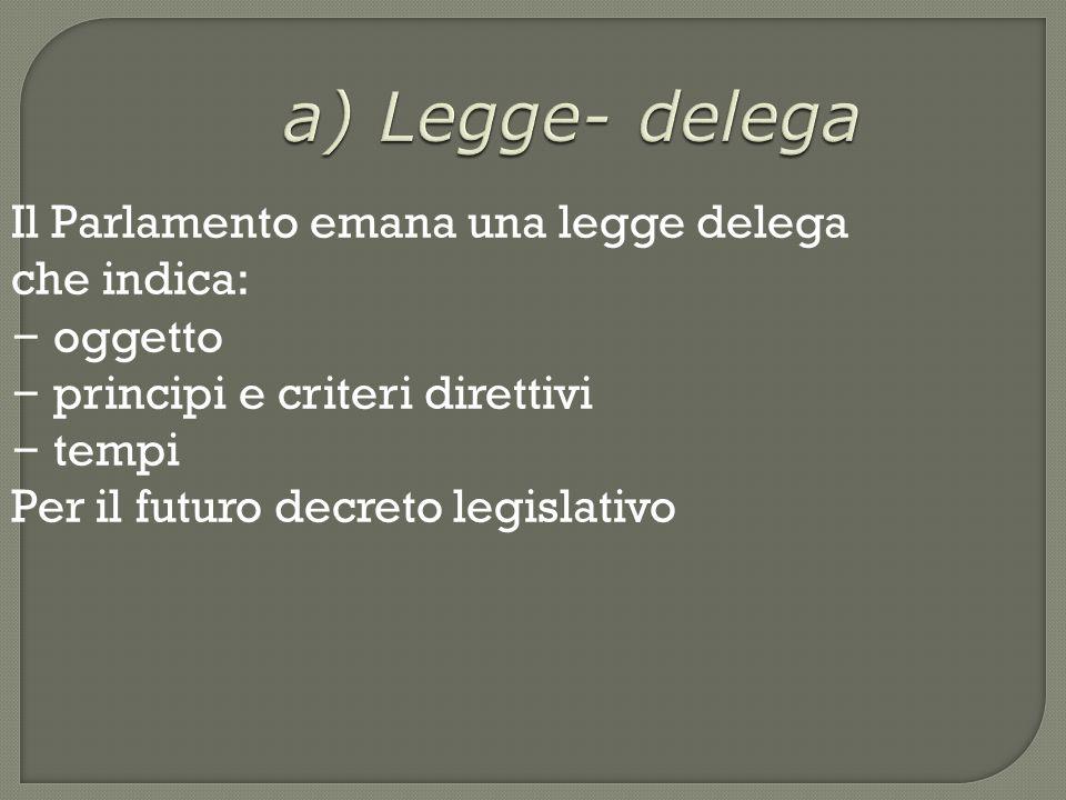 a) Legge- delega Il Parlamento emana una legge delega che indica: – oggetto – principi e criteri direttivi – tempi Per il futuro decreto legislativo