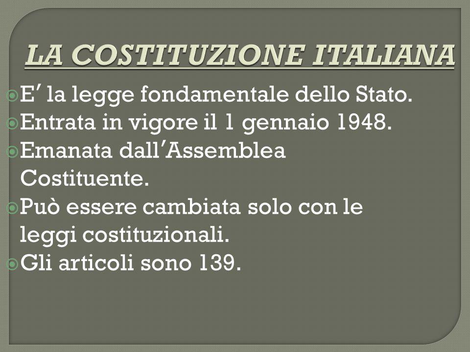 LA COSTITUZIONE ITALIANA  E ' la legge fondamentale dello Stato.