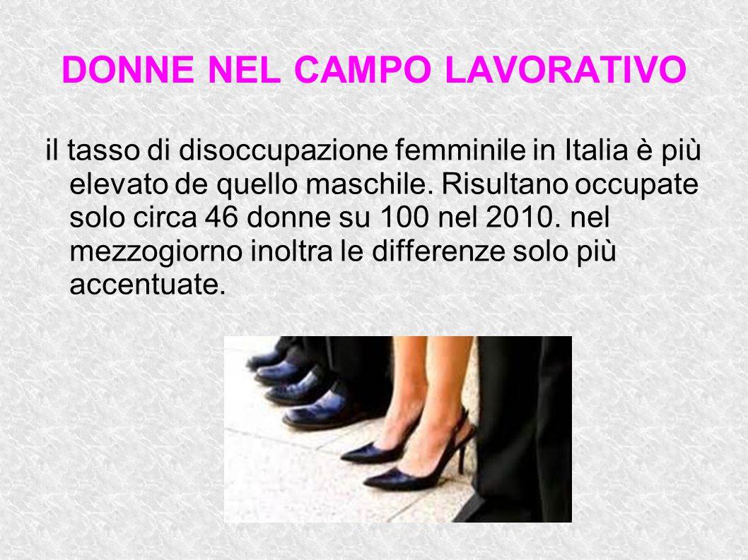 DONNE NEL CAMPO LAVORATIVO il tasso di disoccupazione femminile in Italia è più elevato de quello maschile. Risultano occupate solo circa 46 donne su