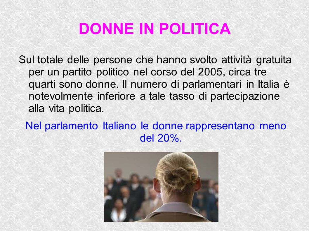 DONNE IN POLITICA Sul totale delle persone che hanno svolto attività gratuita per un partito politico nel corso del 2005, circa tre quarti sono donne.
