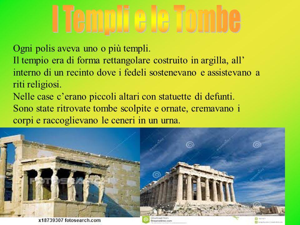 Ogni polis aveva uno o più templi. Il tempio era di forma rettangolare costruito in argilla, all' interno di un recinto dove i fedeli sostenevano e as