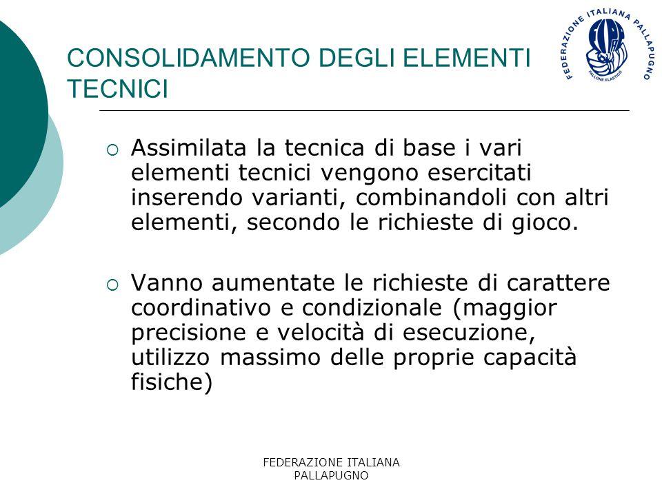 FEDERAZIONE ITALIANA PALLAPUGNO CONSOLIDAMENTO DEGLI ELEMENTI TECNICI Per sviluppare i requisiti tecnici del gioco bisogna esercitare le successioni di movimenti sia in condizioni standardizzate (con un elevato numero di ripetizioni), sia in condizioni di adattamento situazionale.