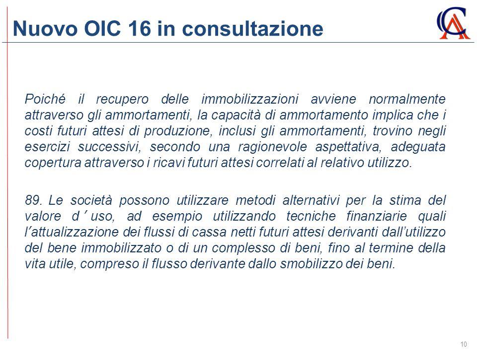 Nuovo OIC 16 in consultazione 10 Poiché il recupero delle immobilizzazioni avviene normalmente attraverso gli ammortamenti, la capacità di ammortament