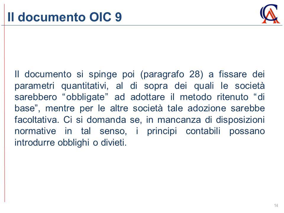 Il documento OIC 9 14 Il documento si spinge poi (paragrafo 28) a fissare dei parametri quantitativi, al di sopra dei quali le società sarebbero obbligate ad adottare il metodo ritenuto di base , mentre per le altre società tale adozione sarebbe facoltativa.