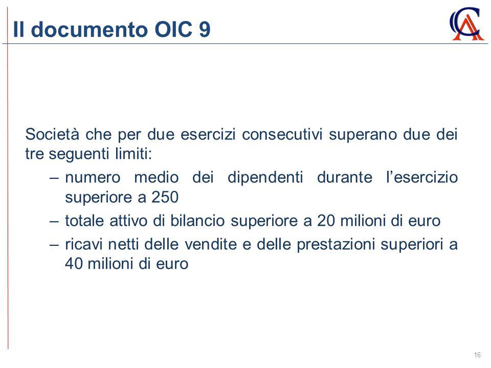 Il documento OIC 9 16 Società che per due esercizi consecutivi superano due dei tre seguenti limiti: –numero medio dei dipendenti durante l'esercizio superiore a 250 –totale attivo di bilancio superiore a 20 milioni di euro –ricavi netti delle vendite e delle prestazioni superiori a 40 milioni di euro