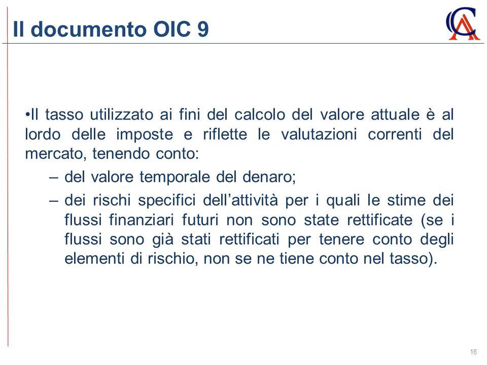 Il documento OIC 9 18 Il tasso utilizzato ai fini del calcolo del valore attuale è al lordo delle imposte e riflette le valutazioni correnti del merca