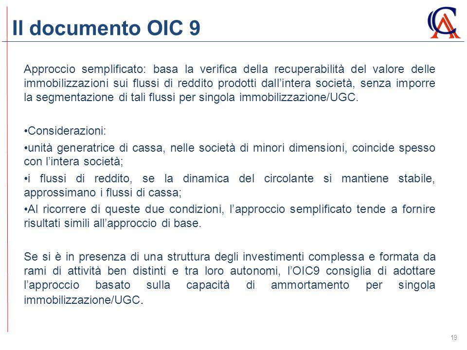 Il documento OIC 9 19 Approccio semplificato: basa la verifica della recuperabilità del valore delle immobilizzazioni sui flussi di reddito prodotti dall'intera società, senza imporre la segmentazione di tali flussi per singola immobilizzazione/UGC.