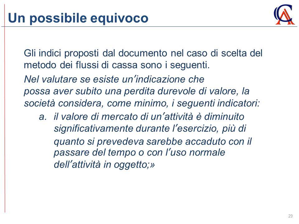 Un possibile equivoco 29 Gli indici proposti dal documento nel caso di scelta del metodo dei flussi di cassa sono i seguenti. Nel valutare se esiste u