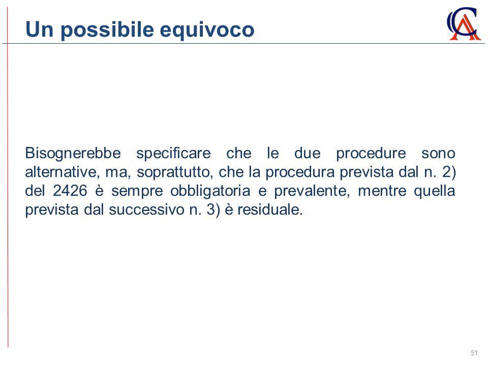 Un possibile equivoco 51 Bisognerebbe specificare che le due procedure sono alternative, ma, soprattutto, che la procedura prevista dal n.