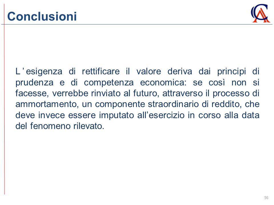 Conclusioni 56 L'esigenza di rettificare il valore deriva dai principi di prudenza e di competenza economica: se così non si facesse, verrebbe rinviat