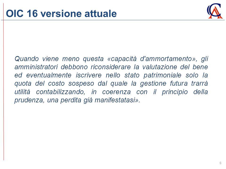 OIC 16 versione attuale 6 Quando viene meno questa «capacità d'ammortamento», gli amministratori debbono riconsiderare la valutazione del bene ed even