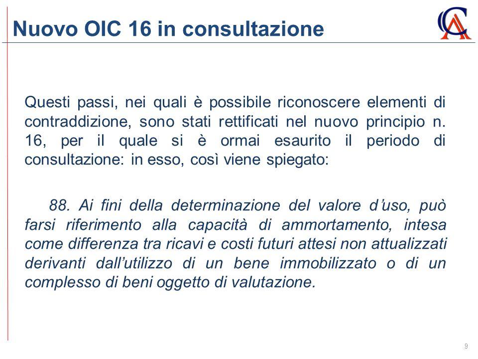 Nuovo OIC 16 in consultazione 9 Questi passi, nei quali è possibile riconoscere elementi di contraddizione, sono stati rettificati nel nuovo principio