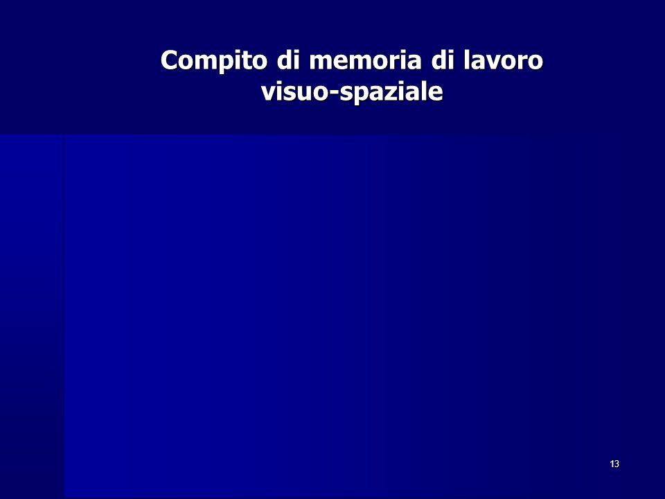 13 Compito di memoria di lavoro visuo-spaziale