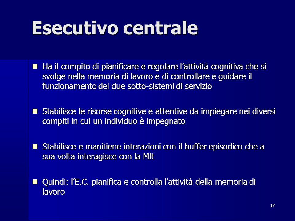 17 Esecutivo centrale Ha il compito di pianificare e regolare l'attività cognitiva che si svolge nella memoria di lavoro e di controllare e guidare il