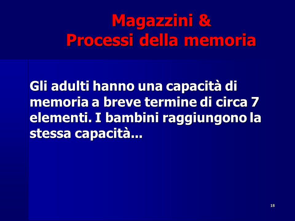 18 Magazzini & Processi della memoria Gli adulti hanno una capacità di memoria a breve termine di circa 7 elementi. I bambini raggiungono la stessa ca