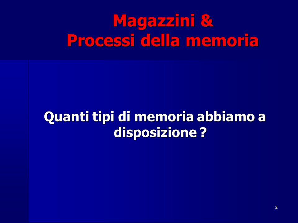 2 Magazzini & Processi della memoria Quanti tipi di memoria abbiamo a disposizione ?